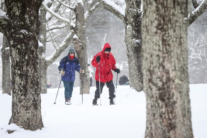 Russ and Janet Parnes, of Millis, do some cross-country skiing as the snow begins to fall at Oak Grove Farm in Millis, in this Feb. 12, 2017 file photo.