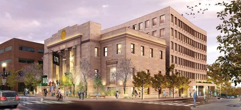 This rendering shows the renovated Masonic Temple building and proposed addition on Hancock Street. FoxRock Properties will build a six-story residential addition with a restaurant at the building and replace the Citizens Bank across the street with a six-story, 135-unit apartment complex.