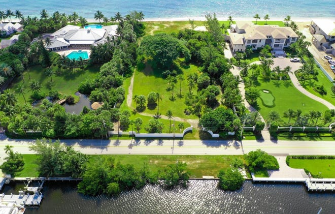 A vacant lot of 2.14 acres with 200 feet of oceanfront and another 200 feet on the Intracoastal Waterway has sold for a recorded $17.26 million in Manalapan.