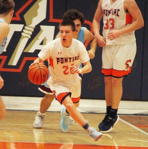 Pontiac senior Mason Monahan, shown here as a junior in a game against St. Joseph-Ogden, and his teammates continue to wait for the beginning of the basketball season for 2020-21.