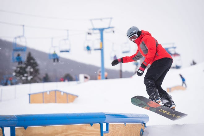 A snowboarder at Camelback Resort in Tannersville.