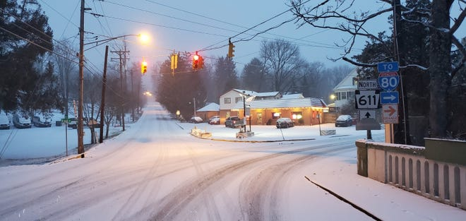 Delaware Water Gap borough streets were blanketed with snow on Wednesday. Inch counts in the Poconos varied the day after the storm.