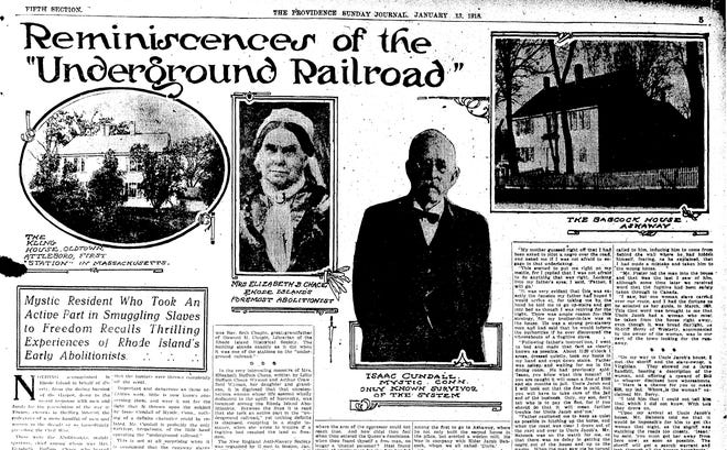"A Providence Journal page from 1918 contains ""reminiscences of the Underground Railroad,"" including one from Isaac Cundall."