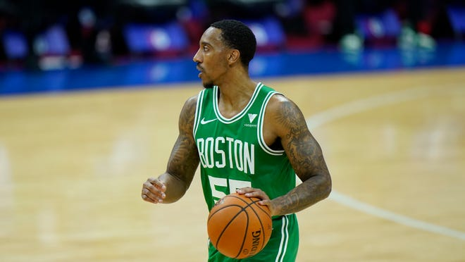 Boston Celtics guard Jeff Teague plays during a preseason game against the Philadelphia 76ers, Tuesday, Dec. 15, in Philadelphia.