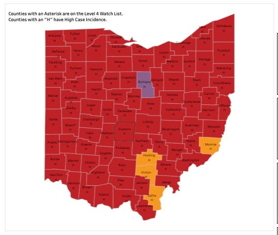 Portage County is no longer purple on the state's COVID map.