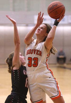 Hoover's Emily Walker (33) takes a shot while being guarded by New Philadelphia's Audrey Harr (left) during Wednesday's game.