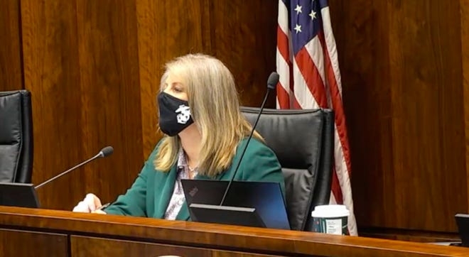 Rep. Stephanie Kifowit, D-Oswego, chairs an Illinois House Veterans' Affairs Committee in Chicago Wednesday in an effort to investigate a deadly COVID-19 outbreak at the state-run LaSalle Veterans' Home.