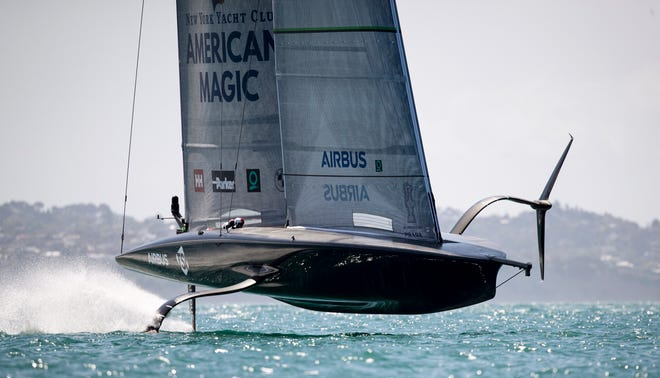 American Magic is one of three challengers from the United States, Italy and Britain which will emerge to race defender Team New Zealand for the America's Cup in the 36th regatta in March. (Dean Purcell/New Zealand Herald via AP)