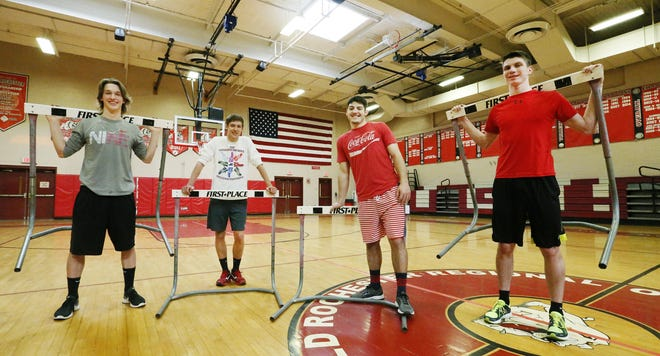 Left to right, Old Rochester's Will Hopkins, Eli Spevack, Harry Smith, and Danny Renwick will run the shuttle hurdles in the Nationals.