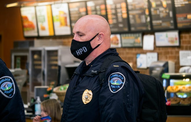 Lt. Jim Fahnestock of the Havelock Police Department prepares for the third annual Shop with a Cop, Wednesday, Dec. 16.