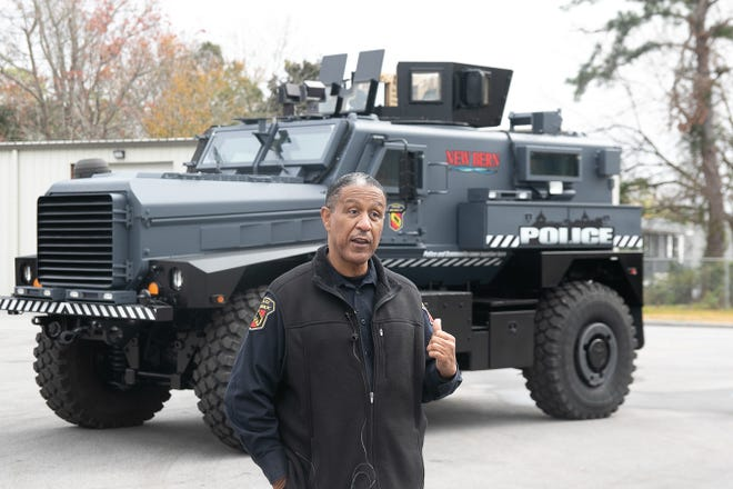 Chief Toussaint Summers Jr. talks about the MRAP with reporters. [Bill Hand / Sun Journal Staff]