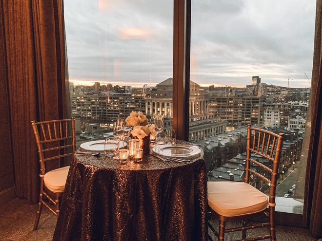 At Four Seasons One Dalton,  New Year's Eve dinner is served  in your room. Say goodbye to 2020 with great food and wonderful views.