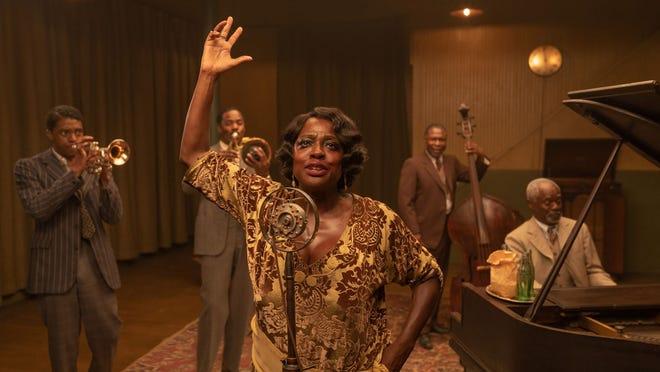 "From left, Chadwick Boseman as Levee, Colman Domingo as Cutler, Viola Davis as Ma Rainey, Michael Potts as Slow Drag, and Glynn Turman as Toldeo in ""Ma Rainey's Black Bottom."