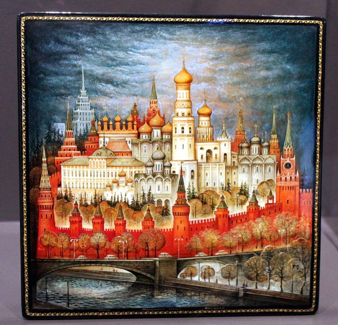 "A lacquer box depicting the Kremlin in Moscow is among those on display in ""Miniature Masterpieces: Russian Lacquer Boxes"" exhibition at the Museum of Russian Icons."
