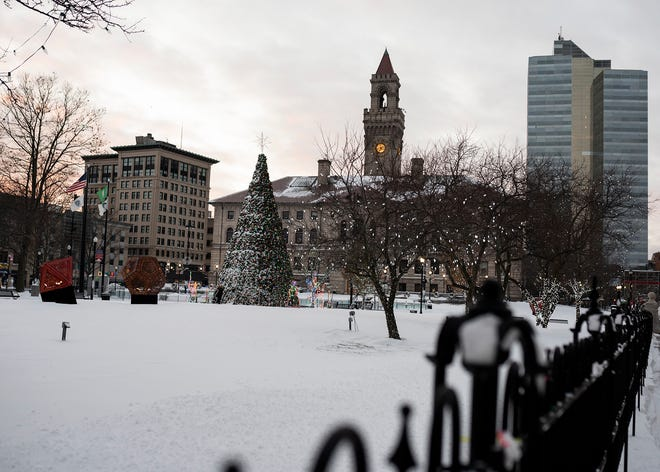 Snow covers the Worcester  Common Dec. 17.