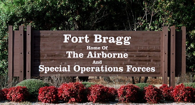 The Fort Bragg sign on Bragg Blvd.