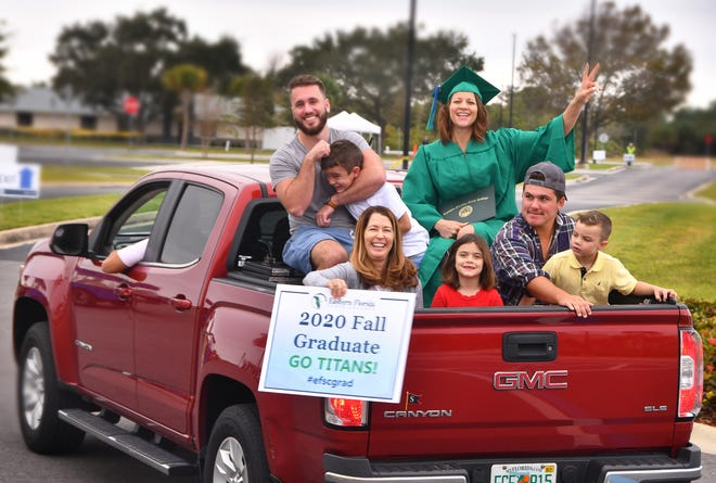 Jane Green came in the back of a pickup truck with her family and after picking up her diploma and posing for photos, she rode out the same way.  Eastern Florida Sate College Fall Commencement was celebrated Thursday online and with drive-through celebrations on each Campus. The Melbourne campus was a festive affair, with cheerleaders and the Titan mascot on hand to cheer on grads and pose for photos.