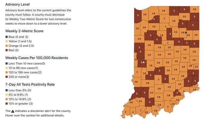 The color-coded map of COVID-19 case distribution by county in Indiana was updated Wednesday, Dec. 16.