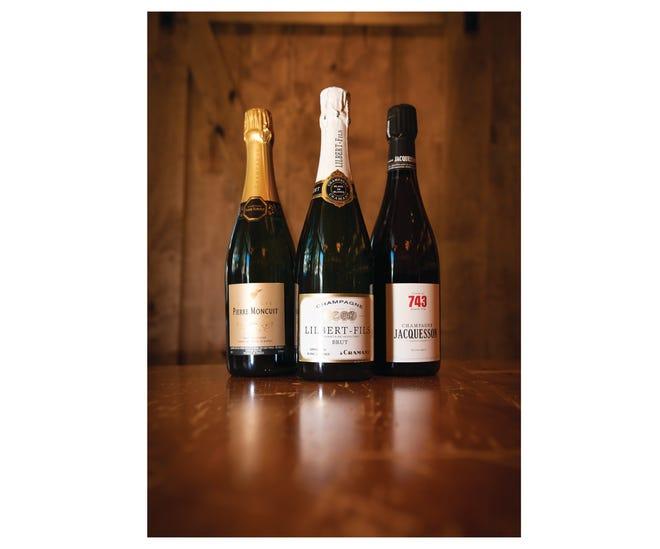 """Pierre Moncuit """"Delos"""" 2006, Lilbert-Fils Blanc de Blancs and Jacquesson No. 743 champagnes at Foxcroft Wine Co."""