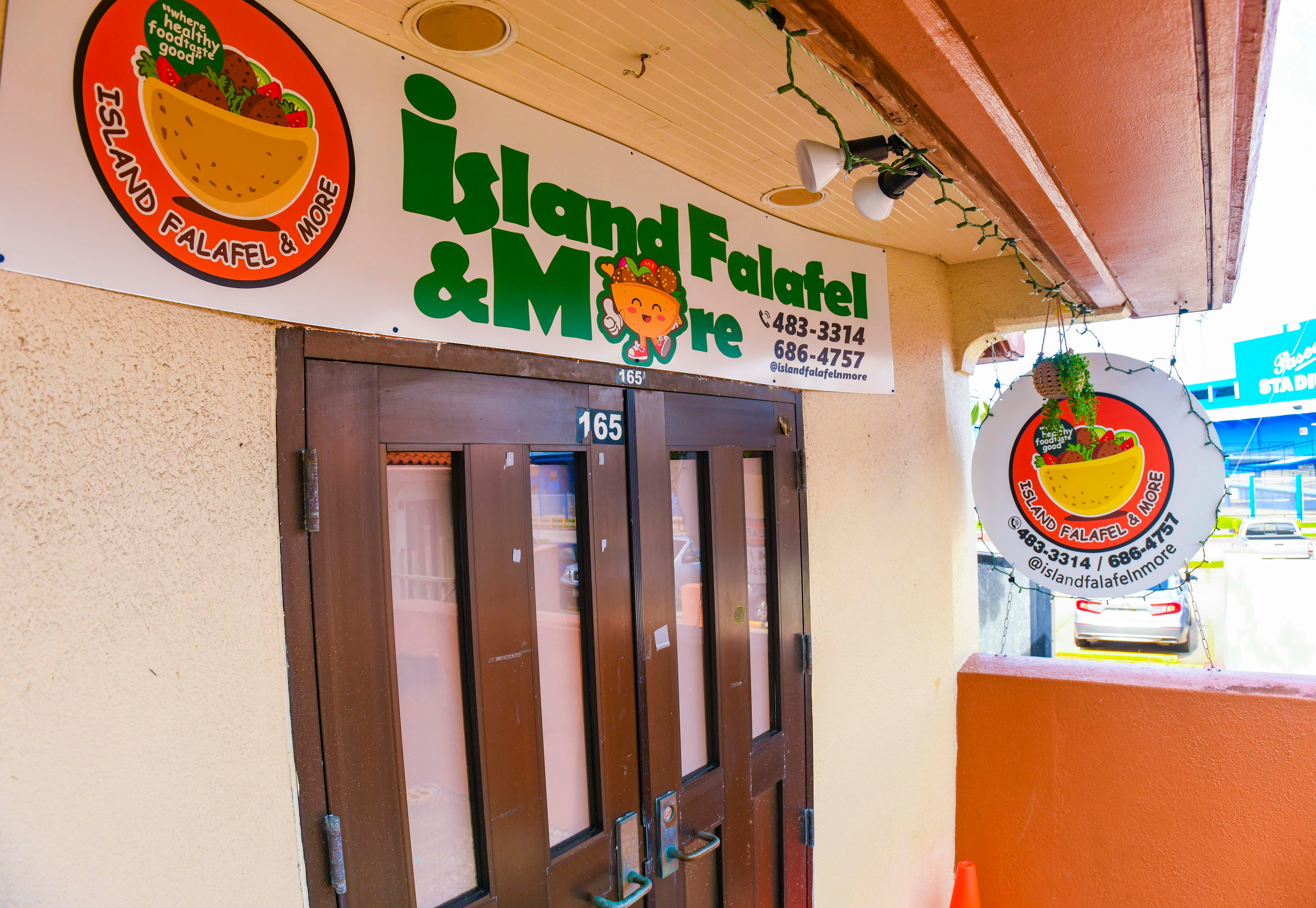 The Island Falafel & More food stand, located within the I Sengsong Chamorro, or the Chamorro Village, in Hagåtña on Dec. 17, 2020.
