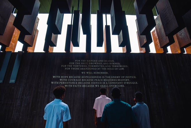 More than 30 Boys II Men participants took part in a 2019 Summer College Tour to Alabama, which included a visit to The National Memorial for Peace and Justice.