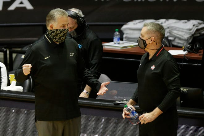 Purdue head coach Matt Painter and Ohio State  Chris Holtmann talk prior to the first half of an NCAA men's basketball game, Wednesday, Dec. 16, 2020 at Mackey Arena in West Lafayette.