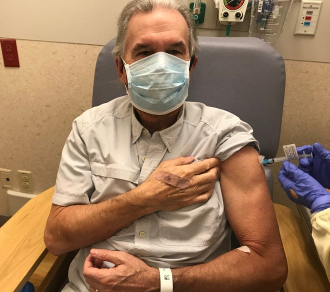 Medical reporter John Fauber gets his second shot in the AstraZeneca COVID-19 vaccine trial being conducted at UW Hospital in Madison.