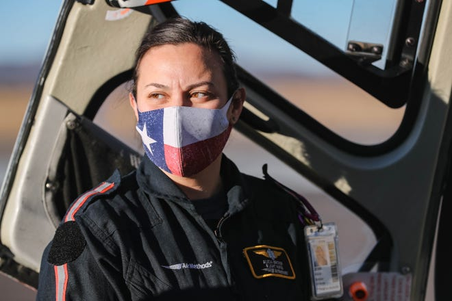 Flight nurse Alicia Bricker works for Native Air Ambulance, a division of Air Methods. The air ambulance provides service for southern New Mexico and west Texas. Pictured Dec. 16, 2020.