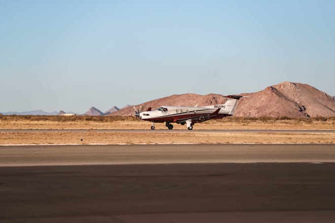 An Air Methods plane takes off from the Las Cruces Airport in Las Cruces on Wednesday, Dec. 17, 2020.
