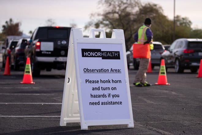 The observation area for COVID-19 vaccinations fills up on Dec. 17, 2020, at HonorHealth in Phoenix.