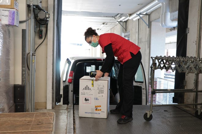 WellSpan York Hospital staff on Thursday morning received the hospital's first shipment of COVID-19 vaccines.