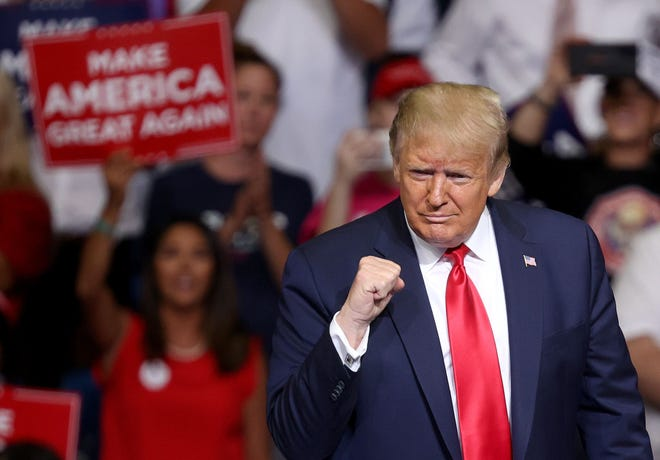 TULSA, OKLAHOMA - JUNE 20: U.S. President Donald Trump arrives at  a campaign rally at the BOK Center, June 20, 2020 in Tulsa, Oklahoma. Trump is holding his first political rally since the start of the coronavirus pandemic at the BOK Center today while infection rates in the state of Oklahoma continue to rise. (Win McNamee/Getty Images/TNS)