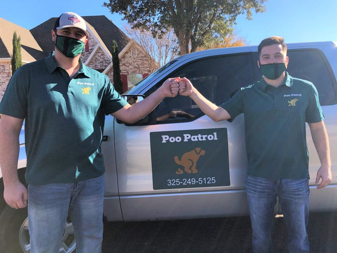 Poo Patrol provides a service for dog owners who don't have time to scoop up where their dog did their business, but still want a fresh yard. The business is run by Dale Cunningham (right) and Luke Parmer (left).