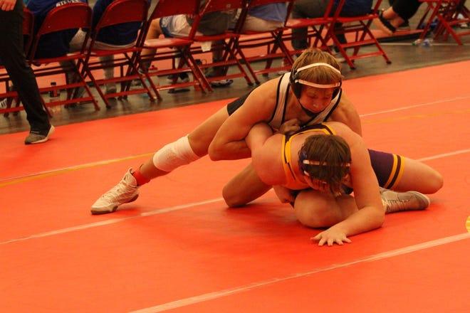 Brandon Valley's Lucas Slack wrestles Ryan Hirschkorn of Harrisburg at the Rapid City Invitational on Dec. 12, 2020.