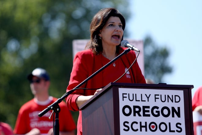 Lily Eskelsen García, then-president of the National Education Association, speaks as thousands of teachers and education activists rally for a day of action starting at Riverfront Park in Salem on May 8, 2019. President-elect Joe Biden picked Garcia to become the first Latina to head the Education Department, if confirmed by the Senate.