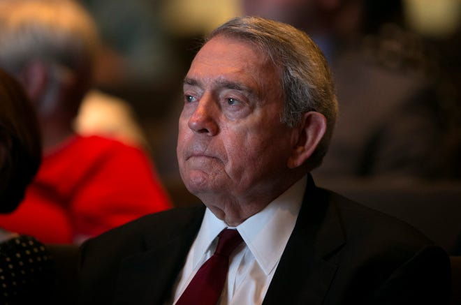 Dan Rather listens in the audience during the Vietnam War Summit at the LBJ Presidential Library on Wednesday. April 27, 2016. [ JAY JANNER / AMERICAN-STATESMAN]