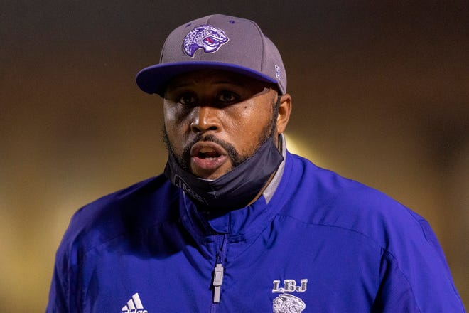 LBJ head coach Jahmal Fenner, roaming the sideline this season during a game at Manor, believes the officials were not fair to his team during a 31-28 loss in the state semifinals. The Jaguars were flagged for 18 penalties.