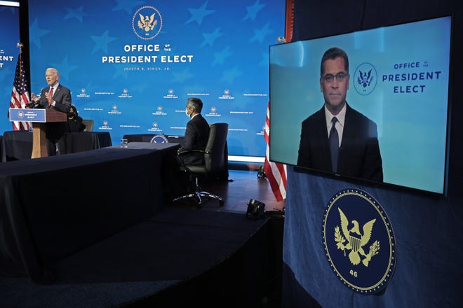 In this file photo, California Attorney General Xavier Becerra, President-elect Joe Biden's choice to be secretary of Heath and Human Services, appears on a video link during a news conference at the Queen Theater on Dec. 8, 2020, in Wilmington, Delaware. (Chip Somodevilla/Getty Images/TNS)
