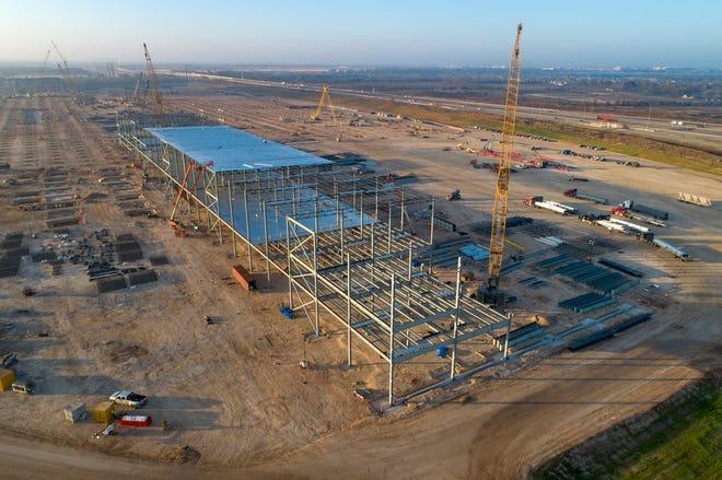 Tesla Giga Texas, shown here under construction on Dec. 18, 2020.