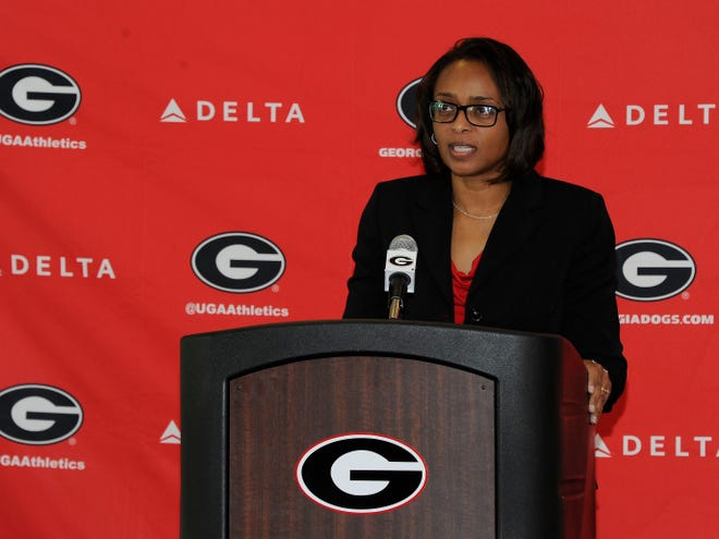 Dr. Carla Williams during the Coach Joni Crenshaw Press Conference
