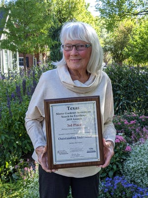 Barbara Harrington, a certified Randall County Master Gardener, placed third in the State of Texas for Outstanding Individual Gardener. The award recognizes Texas Master Gardeners whose involvements are of primary importance to the community. Fewer than 1 percent of the Master Gardeners in Texas are recognized with this award annually.