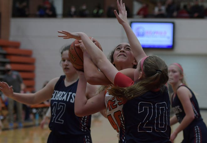 Kennedy White, seen here competing against Marshalltown in December, went for 16 points and 10 rebounds in a losing effort for Ames against Dowling Catholic Saturday in West Des Moines. Little Cyclones fell, 62-50.