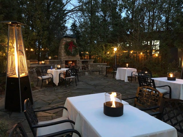 Outdoor dining is a thing the final week of 2020 at the Hyeholde restaurant in Moon Township.