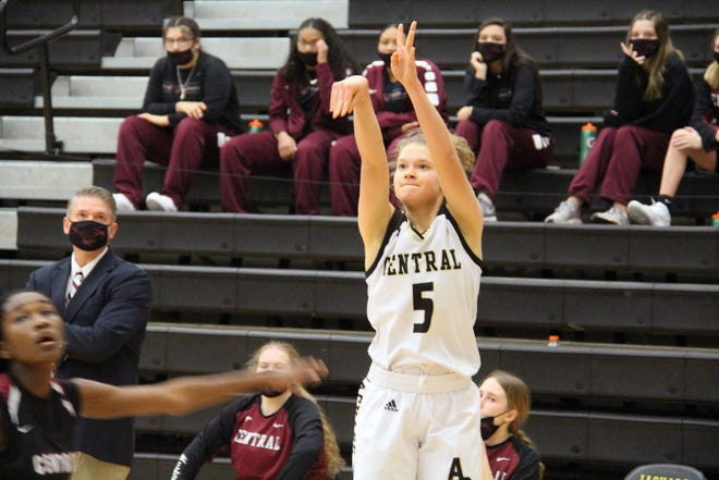 Andover Central's Bailey Wilborn attempts a three-point shot in the first half of Andover Central's 60-52 win over Salina Central on Thursday, Dec. 17. Wilborn finished with 17 points to lead the Jaguars in the victory.