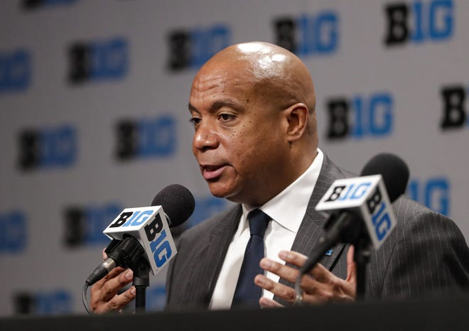 Big Ten commissioner Kevin Warren addresses the media in March after it was announced that the conference men's basketball tournament had been canceled.