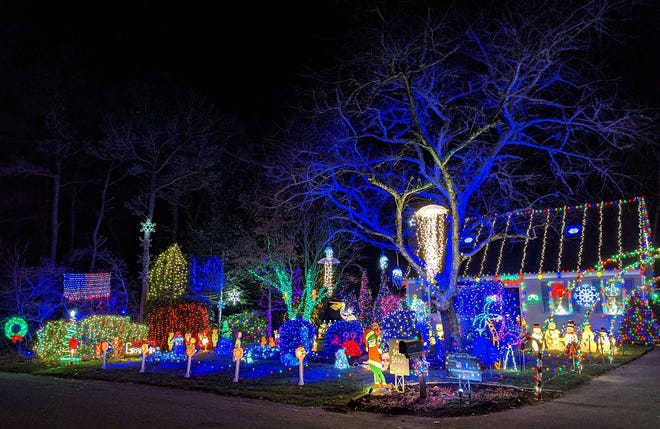 Holiday display at 3 Belmont Ave. in Forestdale