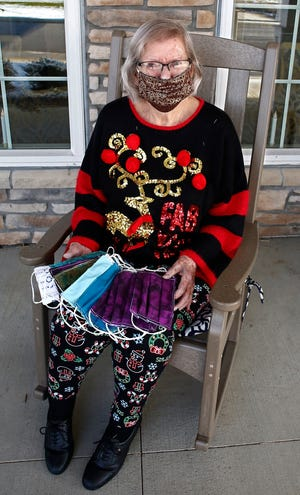 Miriam Looker, a 95-year-old quilt-maker and resident of Walnut Crossing senior living community in Marysville, Ohio, has made nearly 3,000 reusable face masks for community members with help from some fellow residents.