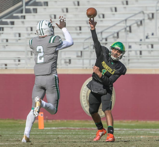 Lake Minneola's Robbie Sanders (1) passes under pressure at Friday's Class 6A state championship game at Miami Central Bobby Bowden Field-Doak Campbell Stadiumin Tallahassee. [PAUL RYAN / CORRESPONDENT]