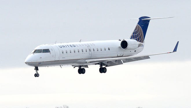 United Airlines flight 3905 from Dulles International Airport in Washington, D.C. lands Thursday at Erie International Airport. Today marked the beginning of United's two daily flights to and from Dulles.