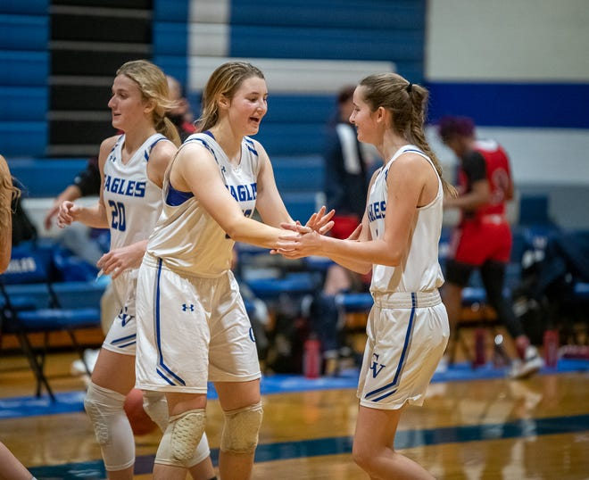 Grain Valley's Ella Clyman, left, and Finley LaForge celebrate after defeating Truman 48-45 Thursday.